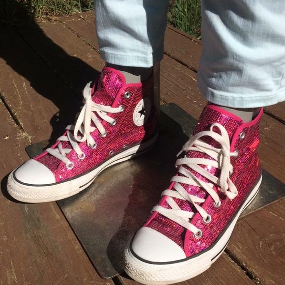 9a02d510fefd Converse Shoes - Converse Chuck Taylor High Tops Pink Sequins